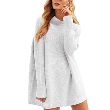 Jotebriyo Vestido feminino de gola rolê tricotado manga comprida solto casual suéter vestido, Cinza, XL