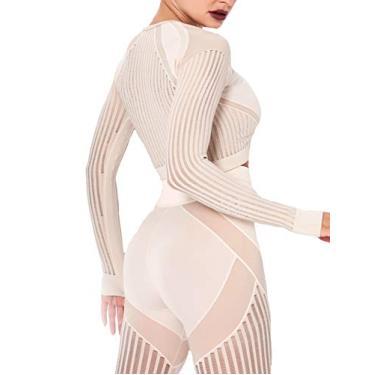Camiseta feminina de compressão para ioga, academia, ginástica, manga curta/comprida, #D Lacer Booty Nude, M
