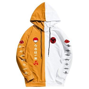 SAFTYBAY Moletom com capuz Naruto para homens e mulheres adolescentes com estampa de anime, moletom com capuz e bolso frontal grande, Amarelo, S