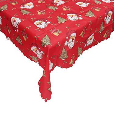 Imagem de giveyoulucky 150 x 180 cm Toalha de mesa de Natal com estampa temática de Natal retangular requintada capa de mesa de poliéster decoração de festa D