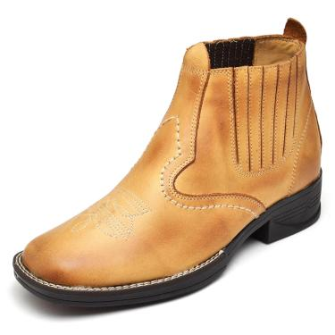 Bota Couro DR Shoes Elástico Amarelo  masculino
