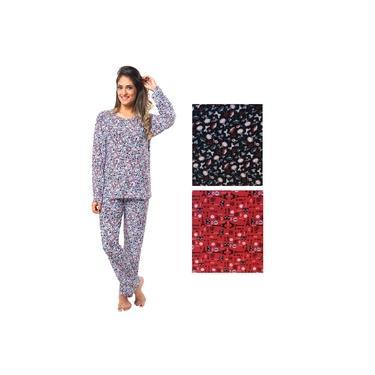 Kit 2 Pijamas Longo Manga Comprida Calça Liganete Estampado Adulto Feminino 1178