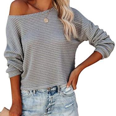 Suéter feminino com ombros de fora, casual, solto, de malha tipo waffle, de manga comprida, pulôver, de malha fina, Cinza, M