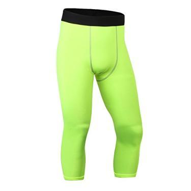 Imagem de ToXodo Calça legging masculina capri 3/4 de compressão esportiva para academia, corrida, secagem rápida, Verde, M