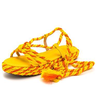 Imagem de Sandalia Feminina Verão Rasteira com Cordão Amarelo e detalhes Laranja  feminino
