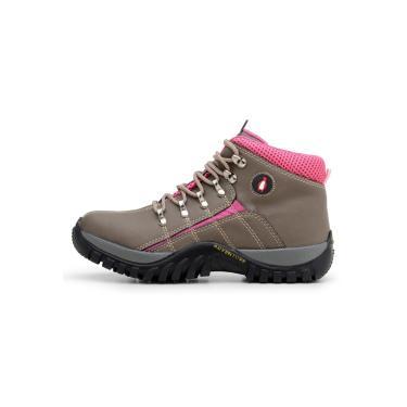 Bota MacShoes Adventure Trail 218 Cinza e Rosa  feminino