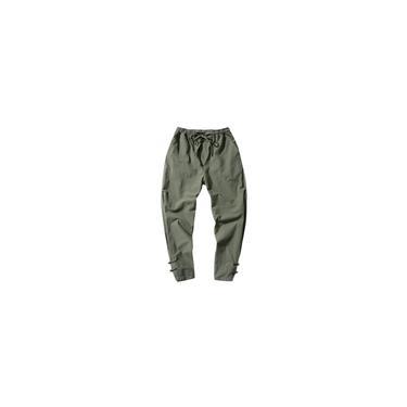 Calças compridas de linho de algodão listrado de cor sólida masculina moda calças casuais