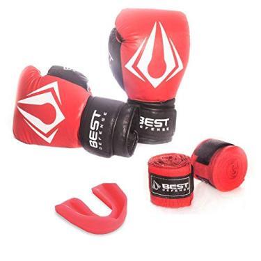 Kit Boxe Muay Thai Luva 16oz + Protetor Bucal + Bandagem 3m - Vermelho