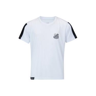 c358b7d5ed Camiseta do Santos Manga Meltex - Infantil - BRANCO PRETO Meltex