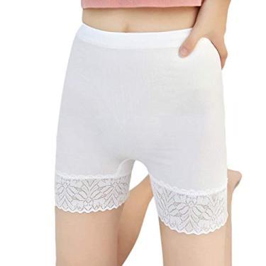 Abeaicoc calça legging feminina com acabamento em renda e cintura média elástica, 2 unidades, 6, One Size
