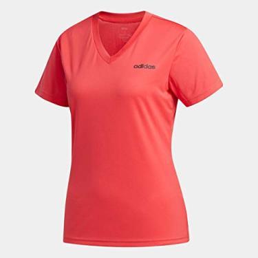 Camiseta Feminina Adidas D2M Solid Tamanho:P;Cor:Rosa