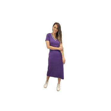 Vestido Midi Canelado Mania de Sophia Jogging Violeta