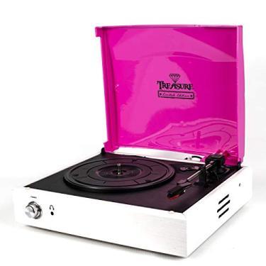 Vitrola Toca Discos Treasure - Pink/White - com software de gravação para MP3