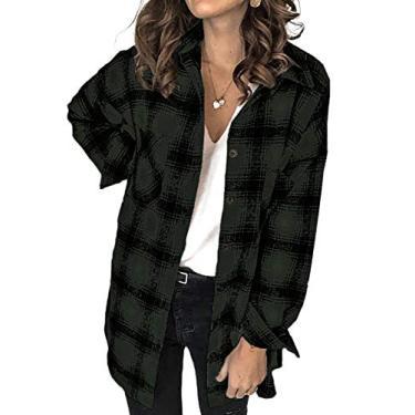 Camisa feminina clássica xadrez com botões da Eytino com manga comprida e bolsos casuais para namorado (P-2GG), A Green, XL