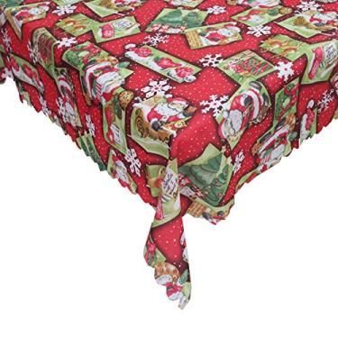 Imagem de giveyoulucky 150 x 180 cm Toalha de mesa de Natal com estampa temática de Natal retangular requintada capa de mesa de poliéster decoração de festa E