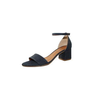 Sandália Salto Grosso Luiza Sobreira Jeans Azul Marinho Mod.4076  feminino