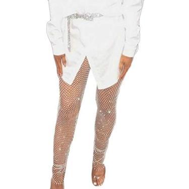 Calça legging feminina sexy de verão UUYUK, Branco, One Size