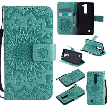 Capa carteira XYX para LG Volt 2, [Sun Flower] Couro PU premium fecho magnético TPU bumper capa slim fit para LG Volt 2/LG Magna/LG G4 Mini/LG G4C, verde