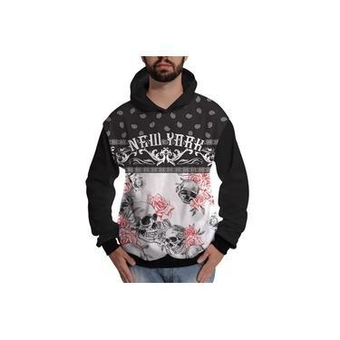 Blusa de Moletom Caveira Floral New York Colorida Skull
