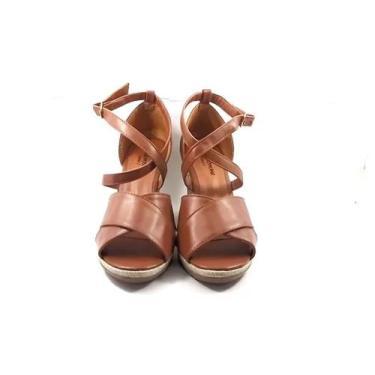 Imagem de Sandália Anabela Caramelo - Tiras Cruzadas - Joaninha Shoes
