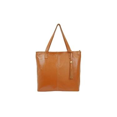 Bolsa Feminina Marrom Couro Legitimo Shop Bag Metais Dourados Madamix
