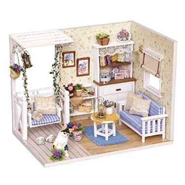 mewmewcat DIY Casa De Bonecas Em Miniatura Kit Realista Mini 3D Casa De Madeira Sala de Brinquedo Artesanal com Mobiliário Luzes LED Presente de Casamento de Aniversário de Natal