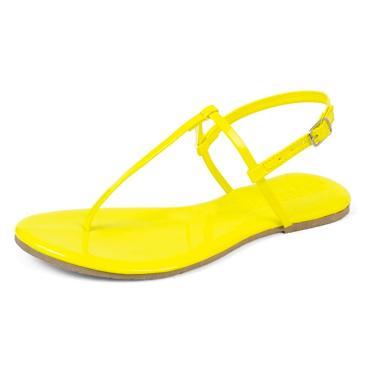 Imagem de Sandália Rasteirinha Mercedita Shoes Verniz Neon Amarelo Ultra Macia  feminino