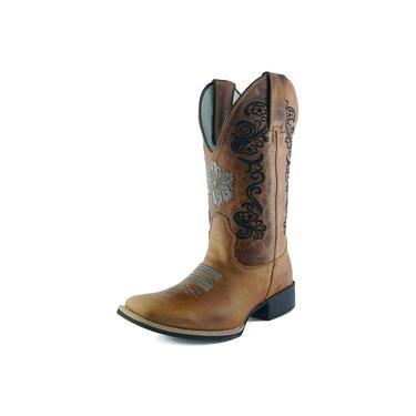 Bota Feminina Mr. West Boots Cano Longo Mostarda Floral