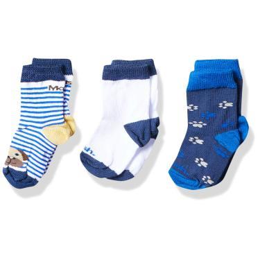 Mash Kit 3 Pares de Meia Casual, Bebê Unissex, Azul/Branco, 16-21