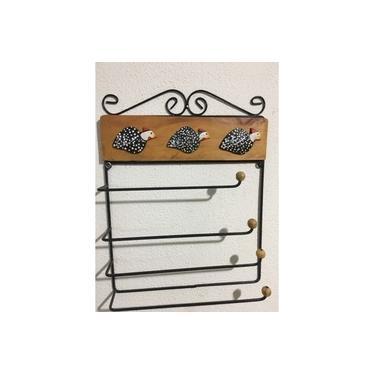 Suporte porta rolo toalha / papel toalha /alumínio / filme para cozinha 4 x 1 - madeira com 3 apliques angolas