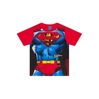 Camiseta Infantil Masculino Superman com Máscara Vermelho - Marlan