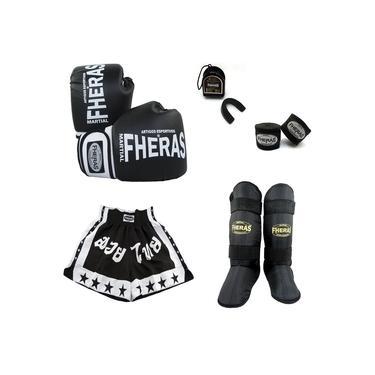 Kit Boxe Muay Thai Orionl Luva Bandagem Bucal Caneleira Shorts (estrela2) - 10 oz Preto/Branco