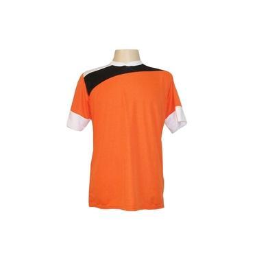 Jogo de Camisa com 14 unidades modelo Sporting Laranja/Preto/Branco + 1 Goleiro +