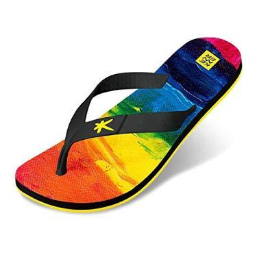 Sandália Kenner Summer Rainbow Canvas Masculino - Preto e Amarelo - 38
