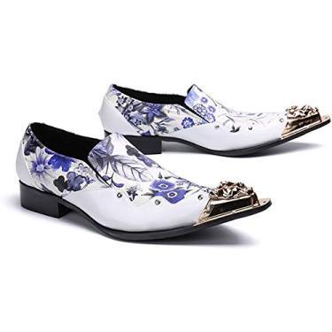 Imagem de PLAYH Sapatos masculinos de couro para casamento sapatos de couro caubói ocidental Oxford Chelsea Metal bico fino slip-on branco (cor: branco, tamanho: 43)