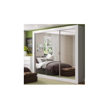 c4ad333171119 Guarda Roupa Casal com Espelho 3 Portas de Correr Campos Madesa Branco -