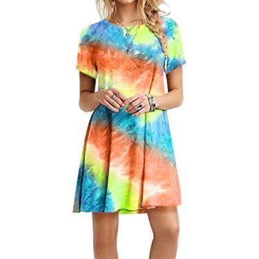 Vestido tie dye feminino de manga curta, casual, solto, vestido de dia plus size, Laranja, L