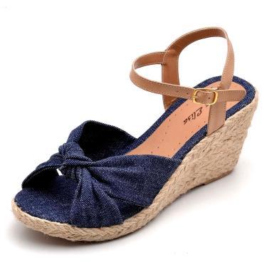 Sandália DR Shoes Anabela Azul  feminino