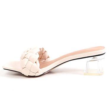 Imagem de GATUXUS Sandália feminina de salto médio com bloco transparente e bico aberto de couro, sandália confortável, Marfim, 8
