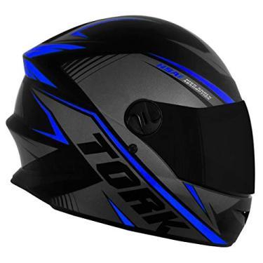 Capacete Pro Tork Moto Fechado R8 Azul Viseira Fumê