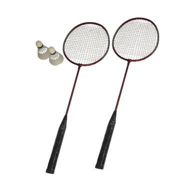 Badminton Kit 2 Raquetes 2 Petecas Bolsa Transporte Vermelho
