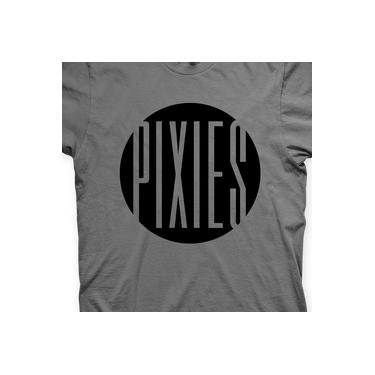 Camiseta Pixies Chumbo e Preta em Silk 100% Algodão
