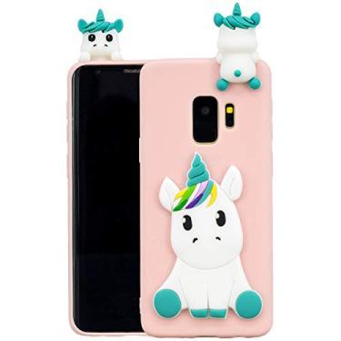 SHUNDA Capa para Galaxy S9, linda capa fosca 3D unicórnio flexível TPU silicone absorção de choque capa protetora para Samsung Galaxy S9 - Rosa