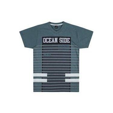 Camisa Infantil Elian 10 a 14 Anos Meia Malha Ocean Side Petróleo
