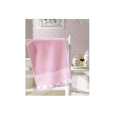Imagem de Toalha de Lavabo para Bordar Dohler Baby Classic Velour Coroinhas Rosa