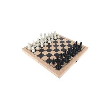 Jogo Xadrez Carlu C/ 32 Peças Tabuleiro Em Mdf 1167 - Carlu