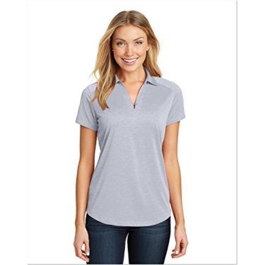 Camisa polo feminina Port Authority Digi Heather Performance cinza claro 4GG