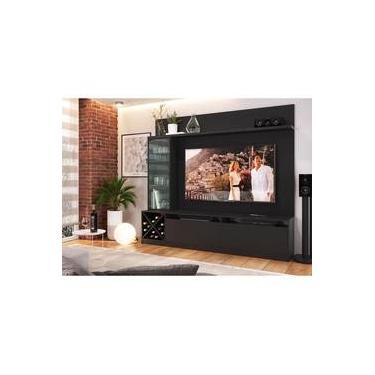 Estante Home Para Tv Até 50 Polegadas 180.4cm X 200cm 1 Porta De Vidro Veneza Quiditá Preto