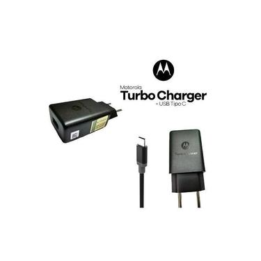 Carregador Turbo Motorola Original Moto G6 Moto G6 Plus USB Tipo C Preto
