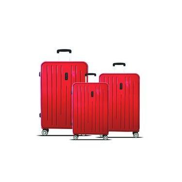 Kit 3 Malas Viagem Polipropileno Santino Califórnia Vermelho